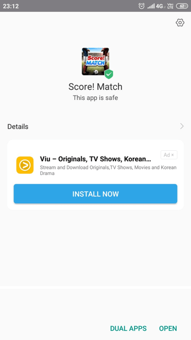 Score Match Apk installed